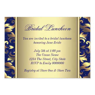 Royal Blue and Gold Bridal Luncheon 13 Cm X 18 Cm Invitation Card