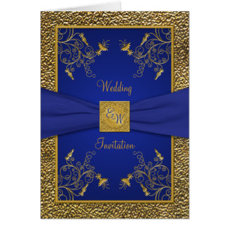 Royal Blue and Gold Card Style Wedding Invite