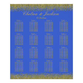 Royal Blue and Gold Confetti - Seating Chart Poster