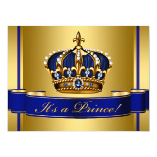 Royal Blue and Gold Crown Prince Baby Shower 17 Cm X 22 Cm Invitation Card