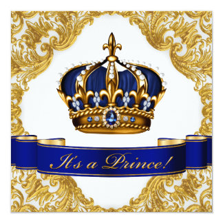 Royal Blue and Gold Crown Prince Baby Shower Card