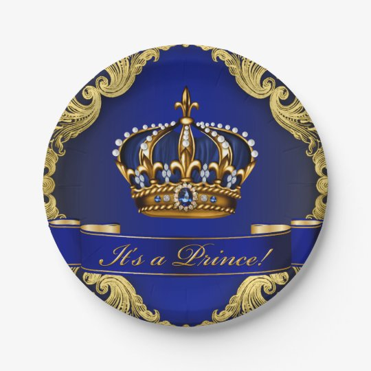 Royal Blue and Gold Crown Prince Baby Shower Paper Plate Zazzlecomau