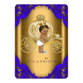 """Royal Blue and Gold Ethnic Prince Baby Shower 5"""" X 7"""" Invitation Card"""