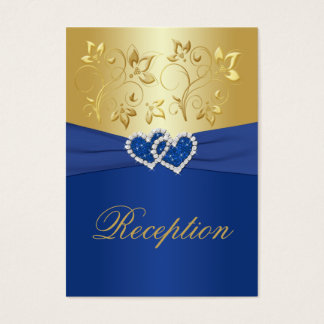 Royal Blue and Gold Floral Enclosure Card
