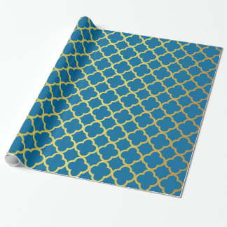 Royal Blue and Gold Glitter Quatrefoil Pattern Wrapping Paper