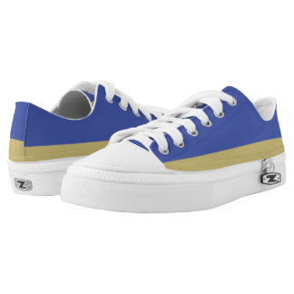 Royal Blue and Gold Lo-Top Printed Shoes