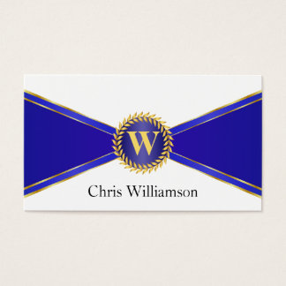 Royal Blue and Gold Monogram Business Card