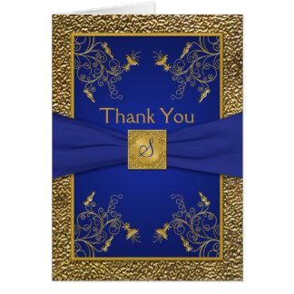 Royal Blue and Gold Monogrammed Thank You Card