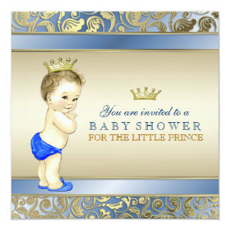 Royal Blue and Gold Prince Baby Shower 13 Cm X 13 Cm Square Invitation Card