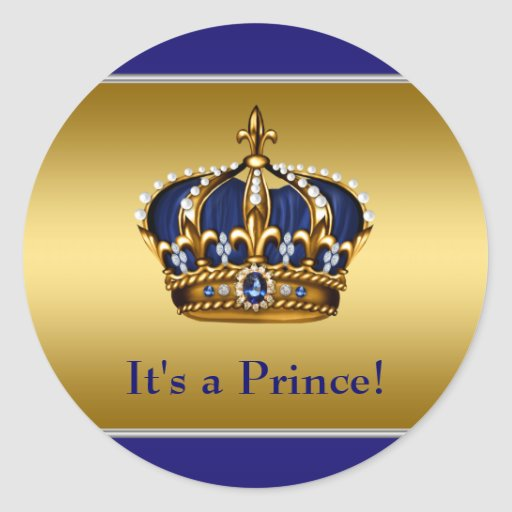 Royal Blue And Gold Prince Baby Shower Classic Round
