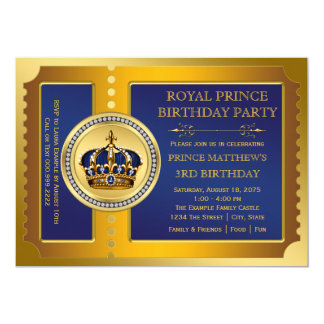 "Royal Blue and Gold Prince Birthday Party 5"" X 7"" Invitation Card"