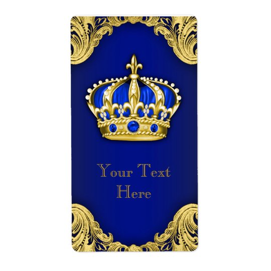 Royal Blue and Gold Prince Crown Wine Bottle Label Shipping Label