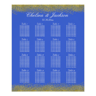 Royal Blue and Gold - Seating Chart Poster