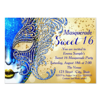 Royal Blue and Gold Sweet 16 Masquerade Party Card