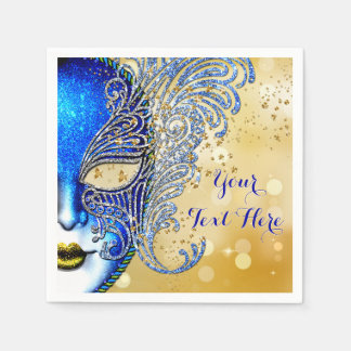 Royal Blue and Gold Sweet 16 Masquerade Party Disposable Serviette