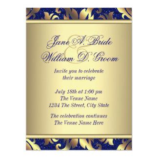 Royal Blue and Gold Wedding 17 Cm X 22 Cm Invitation Card