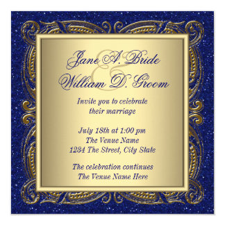"""Royal Blue and Gold Wedding 5.25"""" Square Invitation Card"""