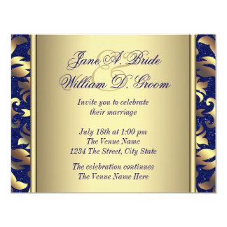 "Royal Blue and Gold Wedding 4.25"" X 5.5"" Invitation Card"