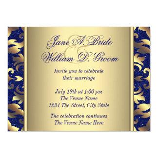 "Royal Blue and Gold Wedding 5.5"" X 7.5"" Invitation Card"