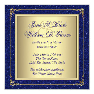 Royal Blue and Gold Wedding Invitations