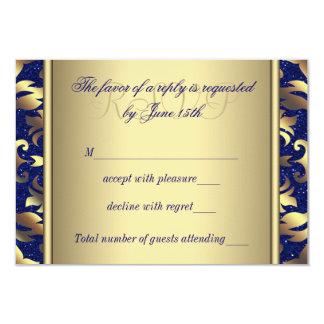 Royal Blue and Gold Wedding RSVP 9 Cm X 13 Cm Invitation Card