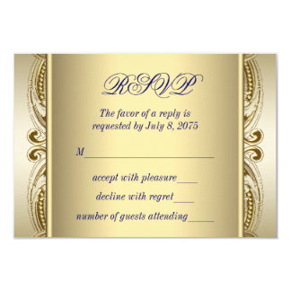 "Royal Blue and Gold Wedding RSVP 3.5"" X 5"" Invitation Card"
