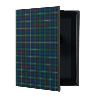 Royal Blue and Green Mackenzie Clan Scottish Plaid iPad Folio Cover