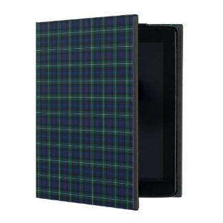 Royal Blue and Green Mackenzie Clan Scottish Plaid iPad Folio Cover