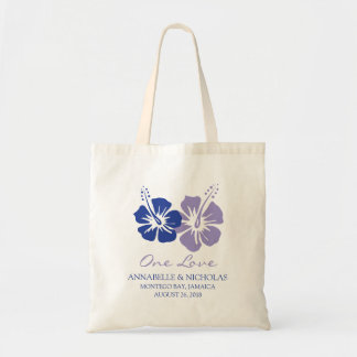 Royal Blue and Lavender Hibiscus Flowers | Wedding Tote Bag