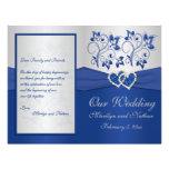 Royal Blue and Silver Floral Wedding Program 21.5 Cm X 28 Cm Flyer