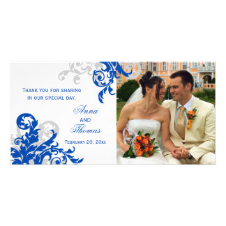 Royal Blue and Silver Flourish Wedding Photo Card