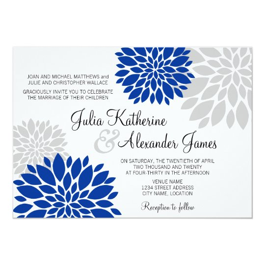 Royal Blue and Silver-Grey Floral Burst Wedding Card