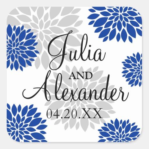 royal blue and silver grey floral burst wedding square sticker zazzle. Black Bedroom Furniture Sets. Home Design Ideas