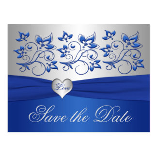 Royal Blue and Silver Heart Save the Date Card