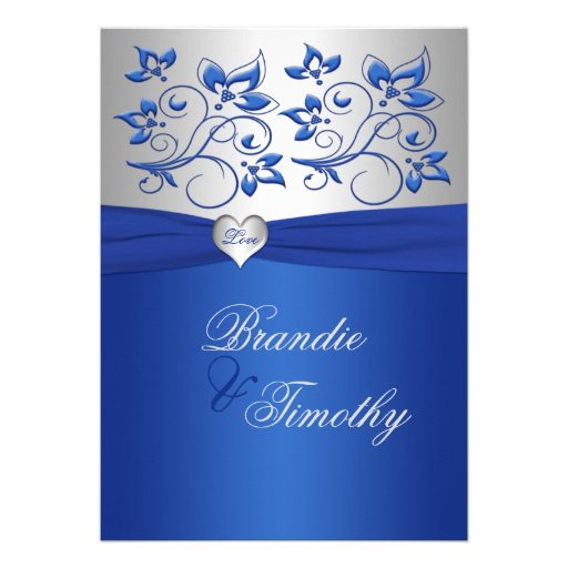 Royal Blue and Silver Heart Wedding Invitation