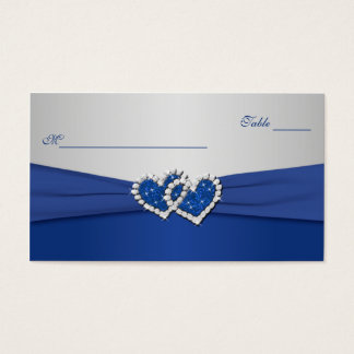 Royal Blue and Silver Joined Hearts Placecards Business Card