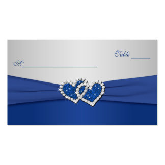 Royal Blue and Silver Joined Hearts Placecards Pack Of Standard Business Cards