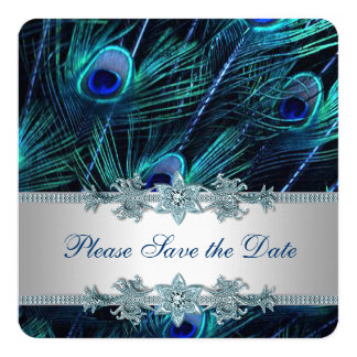 Royal Blue and Silver Peacock Save the Date Card