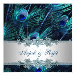 Royal Blue and Silver Royal Blue Peacock Wedding 13 Cm X 13 Cm Square Invitation Card