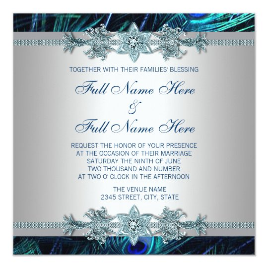 Silver Indian Wedding Invitation: Royal Blue And Silver Royal Indian Peacock Wedding Card