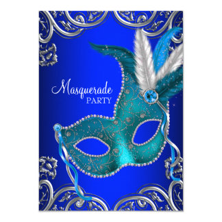 Royal Blue and Teal Blue Masquerade Party 11 Cm X 16 Cm Invitation Card