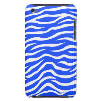 Royal Blue and White Animal Print Zebra Stripes Barely There iPod Case