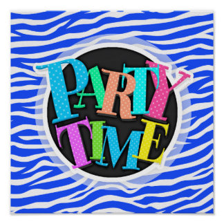 Royal Blue and White Animal Print Zebra Stripes