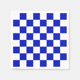Royal Blue and White Checker Board Pattern Disposable Napkin