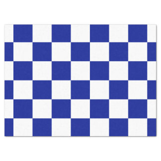 Royal Blue and White Chequered Pattern Tissue Paper