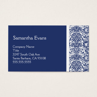 Royal Blue and White Damask Business Card