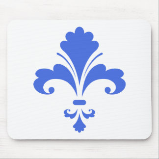 Royal Blue and White Fleur-de-lis Mouse Pad