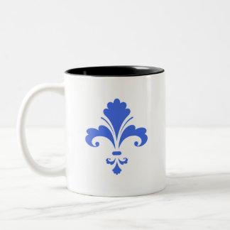 Royal Blue and White Fleur-de-lis Coffee Mugs