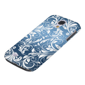 Royal Blue and White Floral Damask Pattern Galaxy S4 Cover