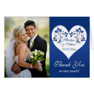 Royal Blue and White Floral Photo Thank You Card